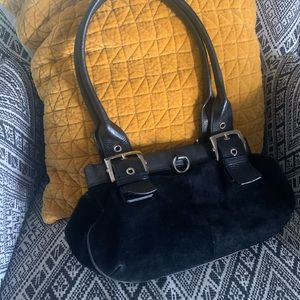 SERGIO ROSSI - suede black leather hand bag